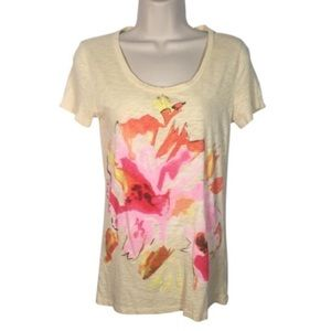 J. Crew Yellow Abstract Flower Short Sleeve Tee